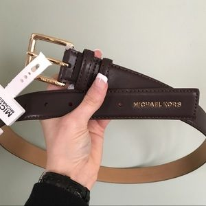 Women's Michael Kors MK Logo Brown Leather BELT